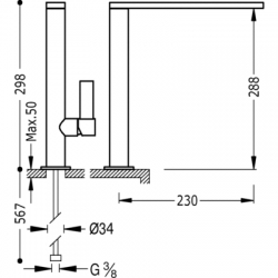 TRES - Jednopáková dřezová kuchyňská baterie ramínko 34x9mm (20548601), fotografie 2/5