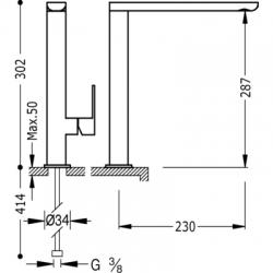 TRES - Jednopáková dřezová kuchyňská baterie ramínko 34x15mm (20044001), fotografie 2/6