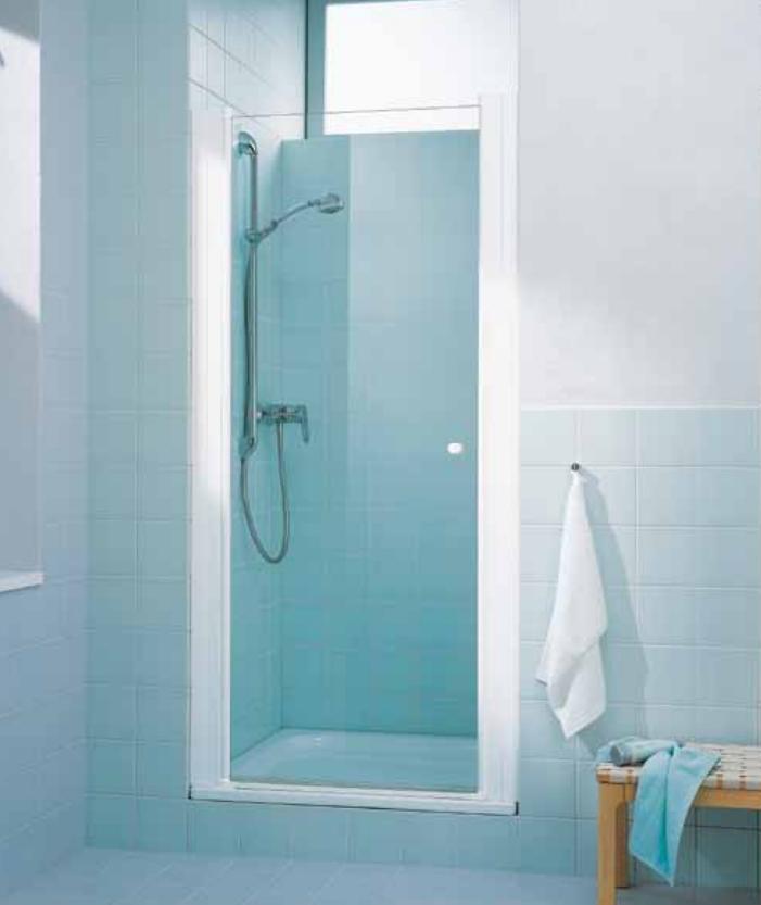 Cada / jednokřídlé otočné dveře/ bílé/ čiré sklo ( CASTW100182PK )