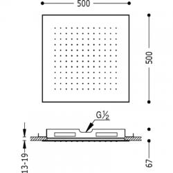 TRES - Stropní sprchové kropítko z nerez. oceli, proti usaz. vod. kamenesystém proti usaz. vod. kamene 500x500mm. (134951), fotografie 2/2