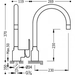 TRES - Jednopáková dřezová baterie svislá s vyjímatelným kropítkem (114444), fotografie 2/3