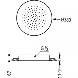 TRES - Stropní sprchové kropítkosystém proti usaz. vod. kamene O380mm. (134940), fotografie 2/2
