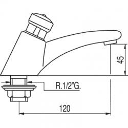 TRES - Umyvadlová baterie pro deskuvstup trubky 10x12. Automatické uzavření po uplynutí 15 s.Průtok 6,5 l/min. (112103), fotografie 2/4
