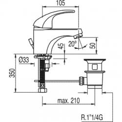 TRES - Jednopáková umyvadlová baterie s ekologickou funkcíVentil automatického odtoku (177104), fotografie 2/6