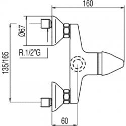 TRES - Jednopáková sprchová baterieRuční sprcha snastavitelným držákem, proti usaz. vod. kamene. Flexi hadice sdvojitým ople (172367), fotografie 2/2