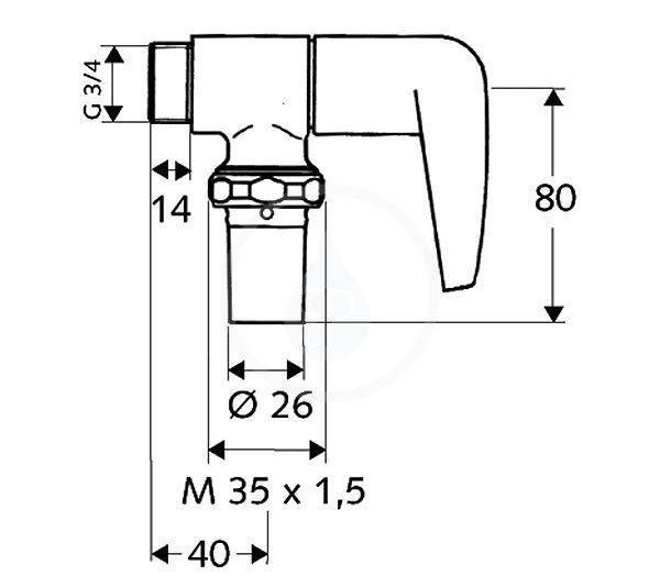 VÝPRODEJ - omat Splachovací ventil WC, chrom (027020699VYP), fotografie 2/1