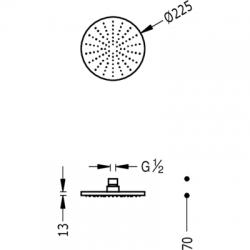 TRES - Sprchové kropítko se systémem proti usaz. vod. kamenes kloubem. Celochromové O225mm (29963201), fotografie 2/2