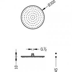 TRES - Sprchové kropítko se systémem proti usaz. vod. kamenes kloubem. Materiál Mosaz O300mm (13413730), fotografie 2/3