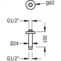 TRES - Stropní ramenona sprchové kropítko (13452102), fotografie 2/2