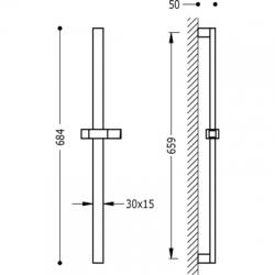 TRES - Posuvná tyč PROJECTMateriál Mosaz, délka 659mm (134516), fotografie 2/2