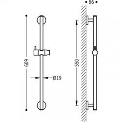 TRES - Posuvná tyč MINIMAL O19mm, délka 550mm (134618), fotografie 2/2