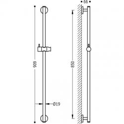 TRES - Posuvná tyč MINIMAL O19mm, délka 850mm (134619), fotografie 2/2