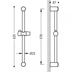 TRES - Posuvná tyč LUXUSO25mm, délka 578mm (134835), fotografie 2/2