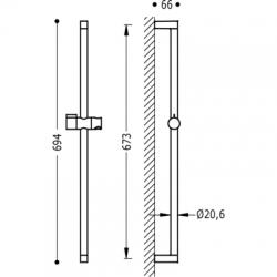 TRES - Posuvná tyč FASHION O20,6mm, délka 673mm (03463706), fotografie 2/2