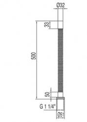 TRES - Pružná vlnitá trubka pro odtok Mosaz, délka 500mm (913463250), fotografie 2/1