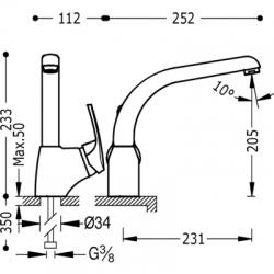 TRES - Jednopáková dřezová baterie svislá (17044002), fotografie 2/3