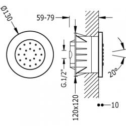TRES - Zapuštěná hydromasážní tryska s 1 typem natáčecího proudu. Má systém proti usazování kamence, zpětný ventil a omezovač  (9161515), fotografie 2/3