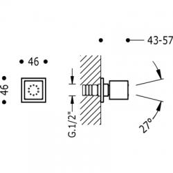 TRES - Boční hydromasážní sprchas 1 typem natáčecího proudu. Má systém proti usazování kamence, zpětný ventil a omezovač průto (9134515), fotografie 2/2