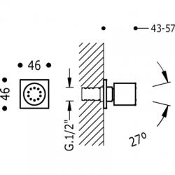 TRES - Boční hydromasážní sprchas 1 typem natáčecího proudu. Má systém proti usazování kamence, zpětný ventil a omezovač průto (29951503), fotografie 2/3