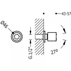 TRES - Boční hydromasážní sprchas 1 typem natáčecího proudu. Má systém proti usazování kamence, zpětný ventil a omezovač průto (9134415), fotografie 2/2