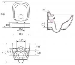 Závěsné WC Caspia NEW CLEAN bez sedátka náhrada za K100-383 (K11-0233) - CERSANIT, fotografie 6/6