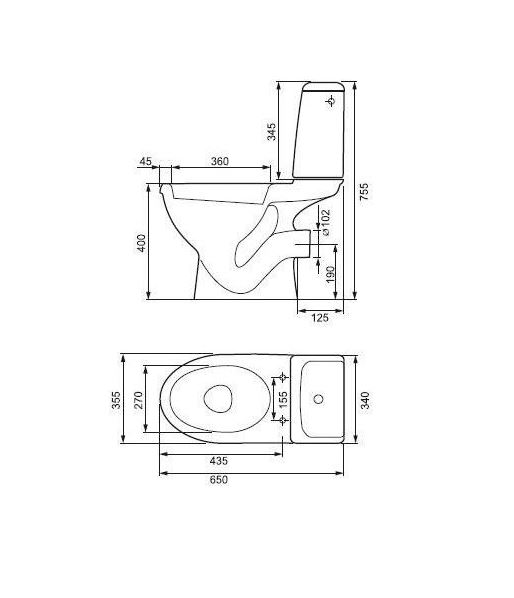 CERSANIT - WC KOMBI EKO  zadní odpad + SEDÁTKO EKO (K07-155+K98-0036), fotografie 4/3