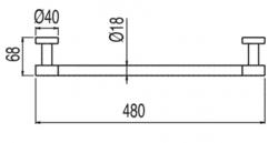 TRES - Držák na ručníky480mm. (16163601), fotografie 4/2