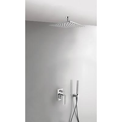 TRES - Podomítkový jednopákový sprchový set CUADRO s uzávěrem a regulací průtoku. · Včetně podomítkového tělesa · Pevná sprcha 300x300mm. s kloubem. Materiál mosaz. (1.34.138.30). · Držák snástěnným přívodem vody (006.182.01). · Ruční sprcha, proti usaz
