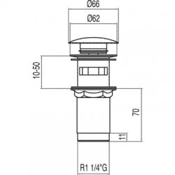 TRES - Umyvadlový ventil s přepadem zátka O66mm CLICK-CLACK (13454160), fotografie 2/2