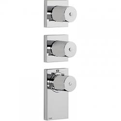 TRES - Termostatická podomítková baterie BLOCKSYSTEMs uzávěrem a regulací průtoku (4-cestná). Včetně podomítkového termosta (20635499)