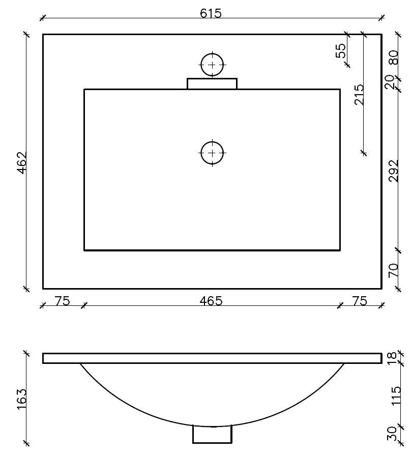 CEDERIKA - SLIM 60 umyvadlo z litého mramoru - BÍLÉ (CA.05460)