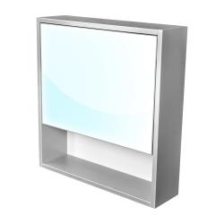 Amsterdam galerka 1x  výklopné barva zrcadlo v AL rámu korpus korpus světle šedá šíře 60 (CA.G1V.191.060) - CEDERIKA