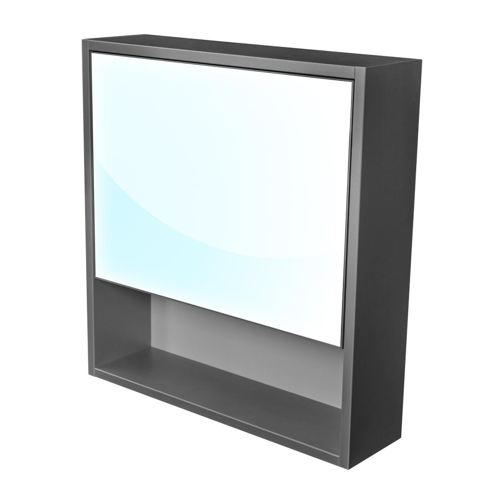 CEDERIKA - Amsterdam galerka 1x  výklopné barva zrcadlo v AL rámu korpus korpus lávově šedá šíře 60 (CA.G1V.192.060)