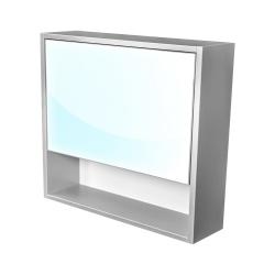 Amsterdam galerka 1x  výklopné barva zrcadlo v AL rámu korpus korpus světle šedá šíře 75 (CA.G1V.191.075) - CEDERIKA