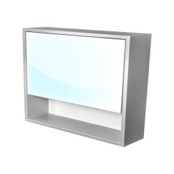 Amsterdam galerka 1x  výklopné barva zrcadlo v AL rámu korpus korpus světle šedá šíře 90 (CA.G1V.191.090) - CEDERIKA