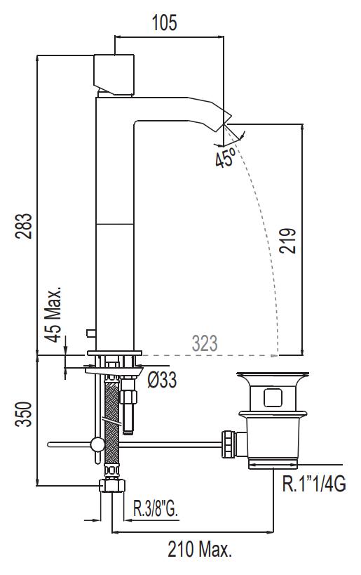 VÝPRODEJ - TRES CUADRO-TRES baterie umyvadlová stojánková, s prodlužkou (107107VYP), fotografie 2/3
