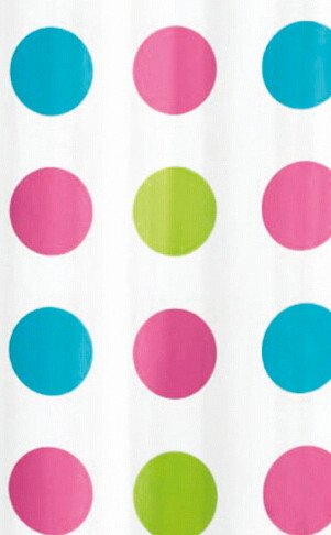 VÝPRODEJ - Sprchový závěs 180x180cm, vinyl, růžové puntíky (ZV018VYP)