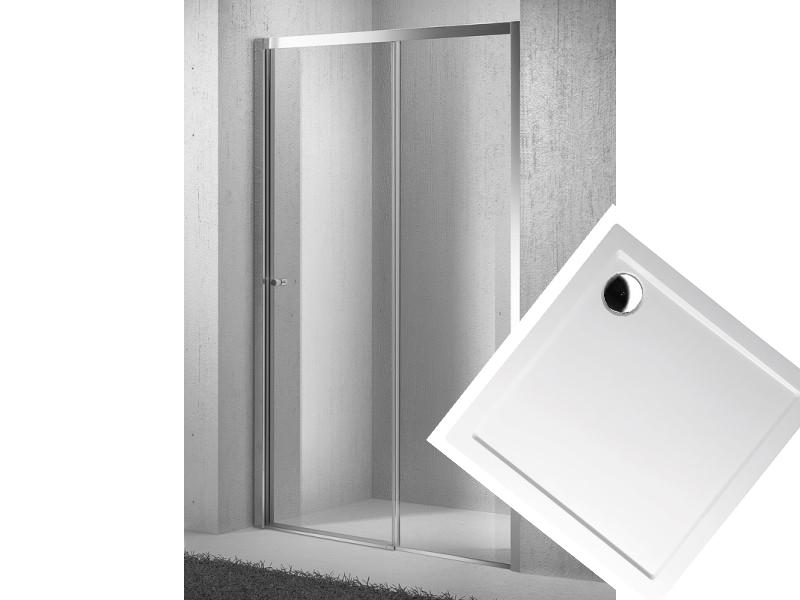 Sprchovvý set dveře zasouvací Move D2 96-101cm se sprchovou vaničkou z litého mramoru 100x100 cm (MOVED210060511)