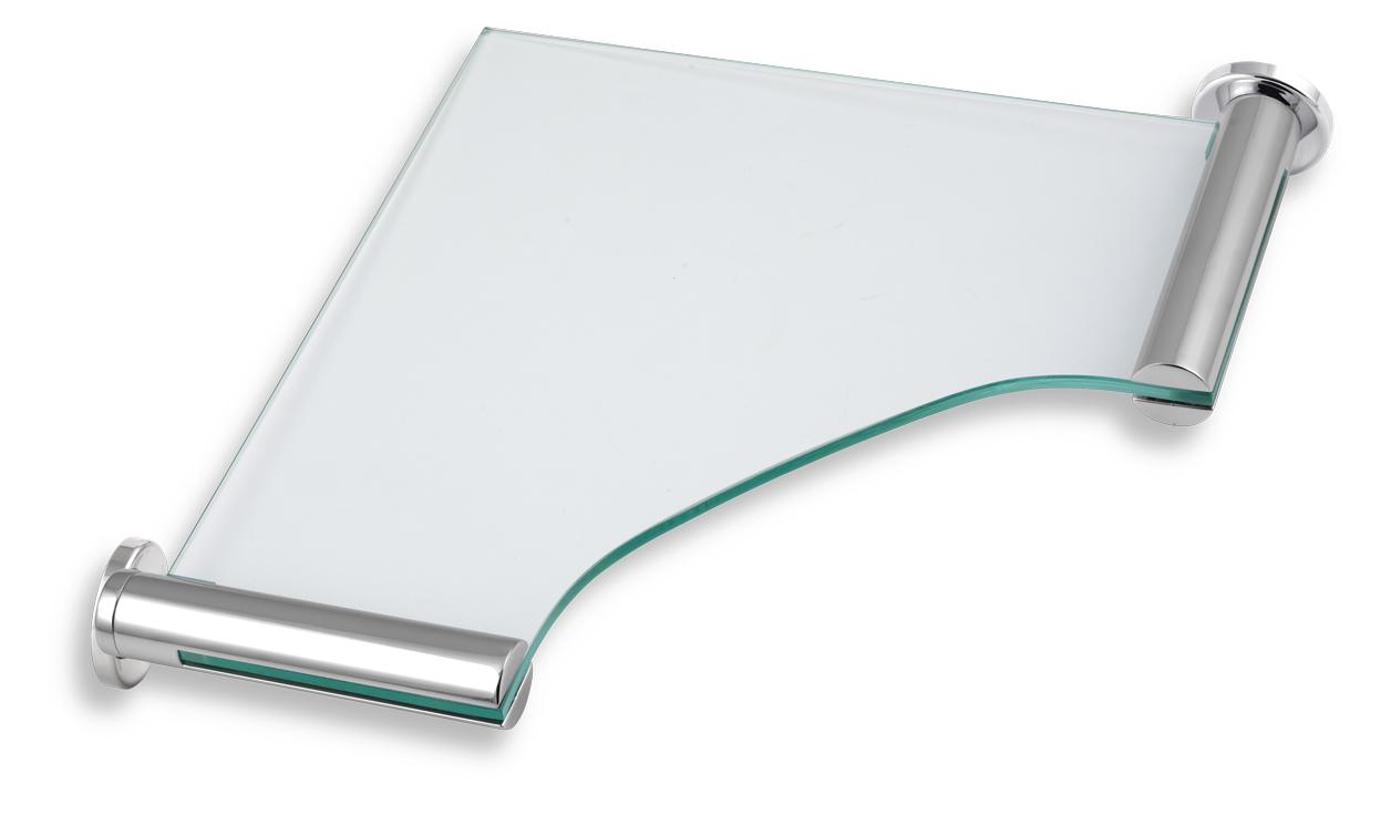 NOVASERVIS - Rohová polička sklo pískované  Metalia 2 chrom (6235,0S)