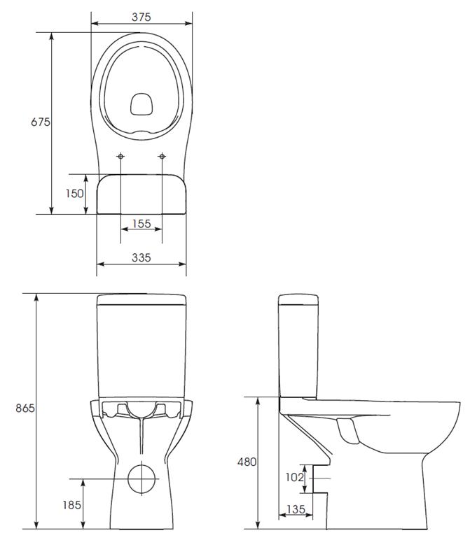 CERSANIT - WC KOMPAKTNÍ ETIUDA NEW CLEANON 010 3 / 6L Invalidní  (K100-387), fotografie 8/8