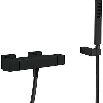 TRES Termostatická baterie pro vanu a sprchus kaskádou. Ruční sprcha s nastavitelným držákem, proti usaz. vod. kamene. Flexi 20217409NM