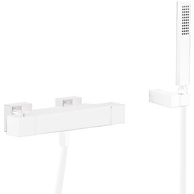 TRES Termostatická baterie pro vanu a sprchus kaskádou. Ruční sprcha s nastavitelným držákem, proti usaz. vod. kamene. Flexi 20217409BM