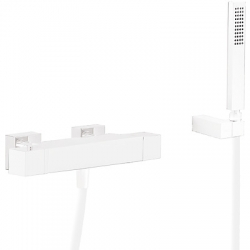 TRES - Termostatická baterie pro vanu a sprchus kaskádou. Ruční sprcha snastavitelným držákem, proti usaz. vod. kamene. Flexi (20217409BM)