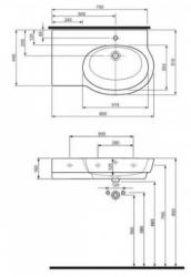 Varius umyvadlo asymetrické 80cm, levé (K31781000) - Ostatní, fotografie 2/1