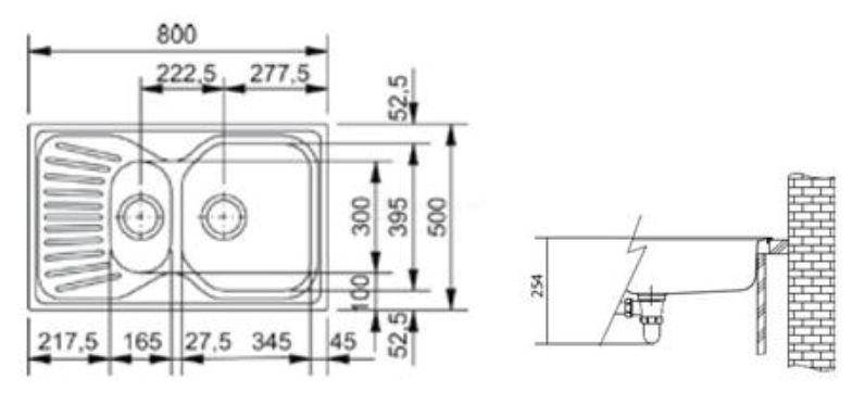 Ostatní - FRANKE dřez s okapem 80x50 cm   /   bal. 1KS (MOX651-800)