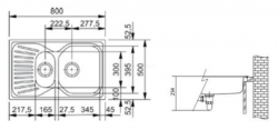 Ostatní - FRANKE dřez s okapem 80x50 cm   /   bal. 1KS (MOX651-800), fotografie 2/1