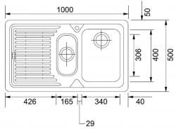 Ostatní - FRANKE dřez1000x500(1,5 dřez odk.vpravo)   /   bal. 1KS (LOX651/2), fotografie 2/1