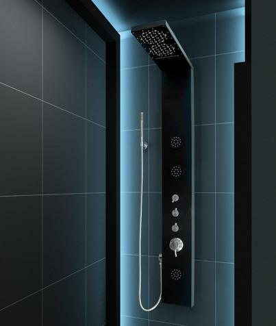 Aquatek - Hawai Hydromasážní sprchový panel s vodopádem, způsob montáže do rohu, baterie termostatická (Hawai-275)