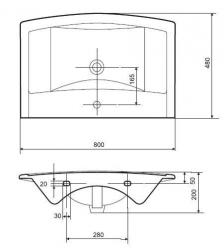 CERSANIT nábytkové umyvadlo ETNA 80 B s otvorem (K11-0010), fotografie 2/2