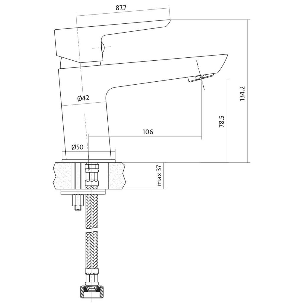 Umyvadlová baterie MILLE jednopáková, jednootvorová, stojánková, s pevným výtokovým ramínkem, CHROM/ČERNÁ, s výpustí kovovou (S951-048)